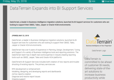 DataTerrain Expands Into BI Support Services