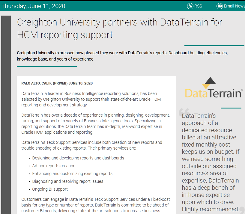 Creighton University partners with DataTerrain
